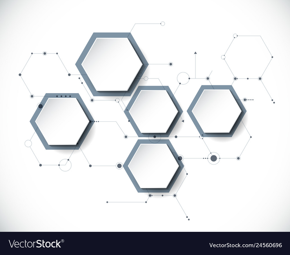Molecule with 3d paper label hexagon background