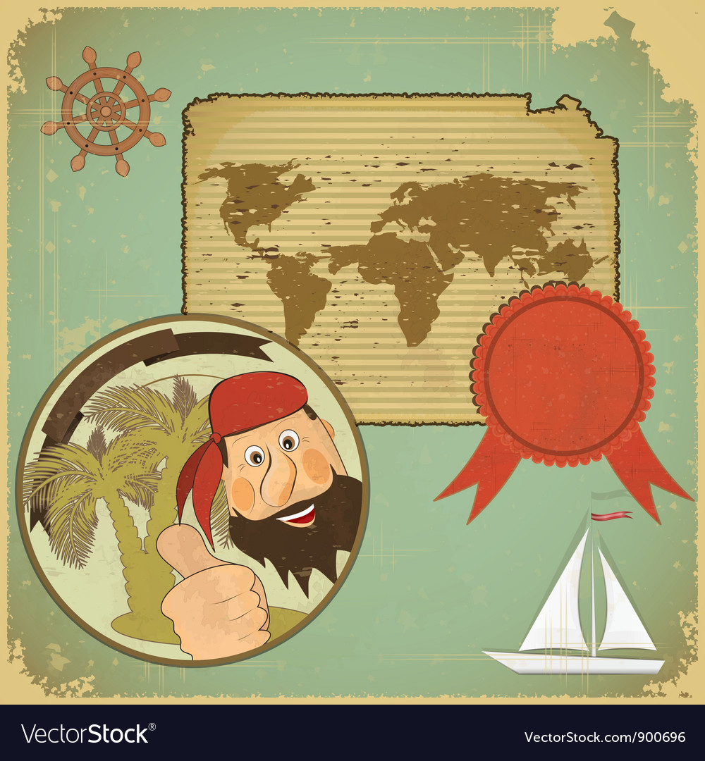 Pirate World Map.Pirate And World Map Royalty Free Vector Image