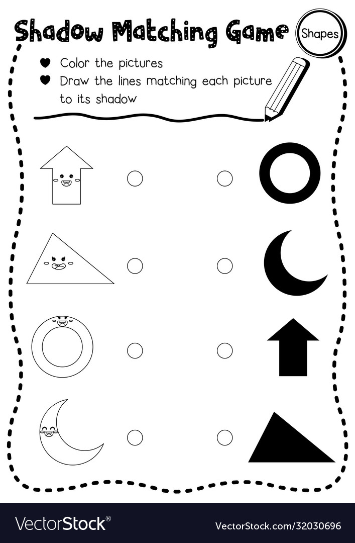 Shadow Matching Game Shape 1 Coloring Page Version
