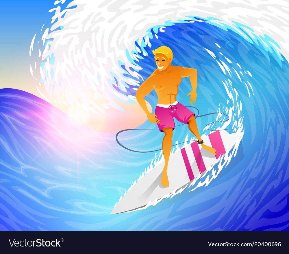 Surfer riding on blue ocean wave with surfboard