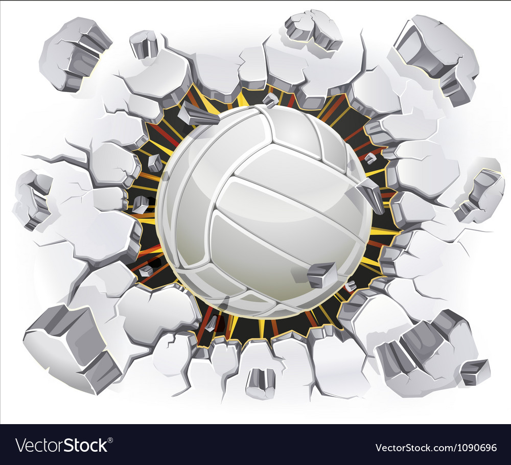 Volleyball and Old Plaster wall damage vector image