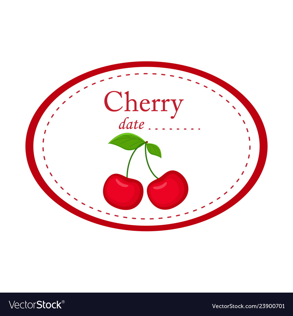 Cherry label disign isolated on white