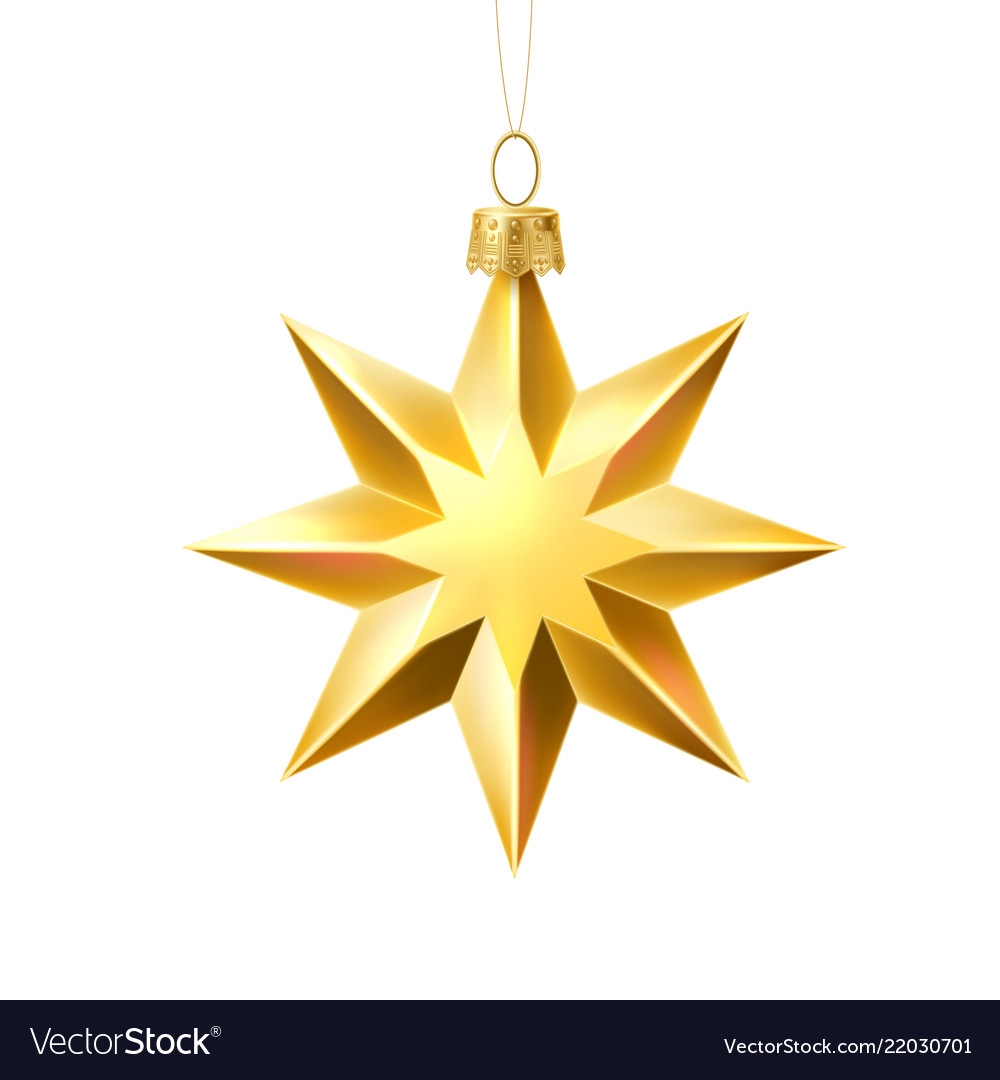 Christmas tree golden star realistic toy