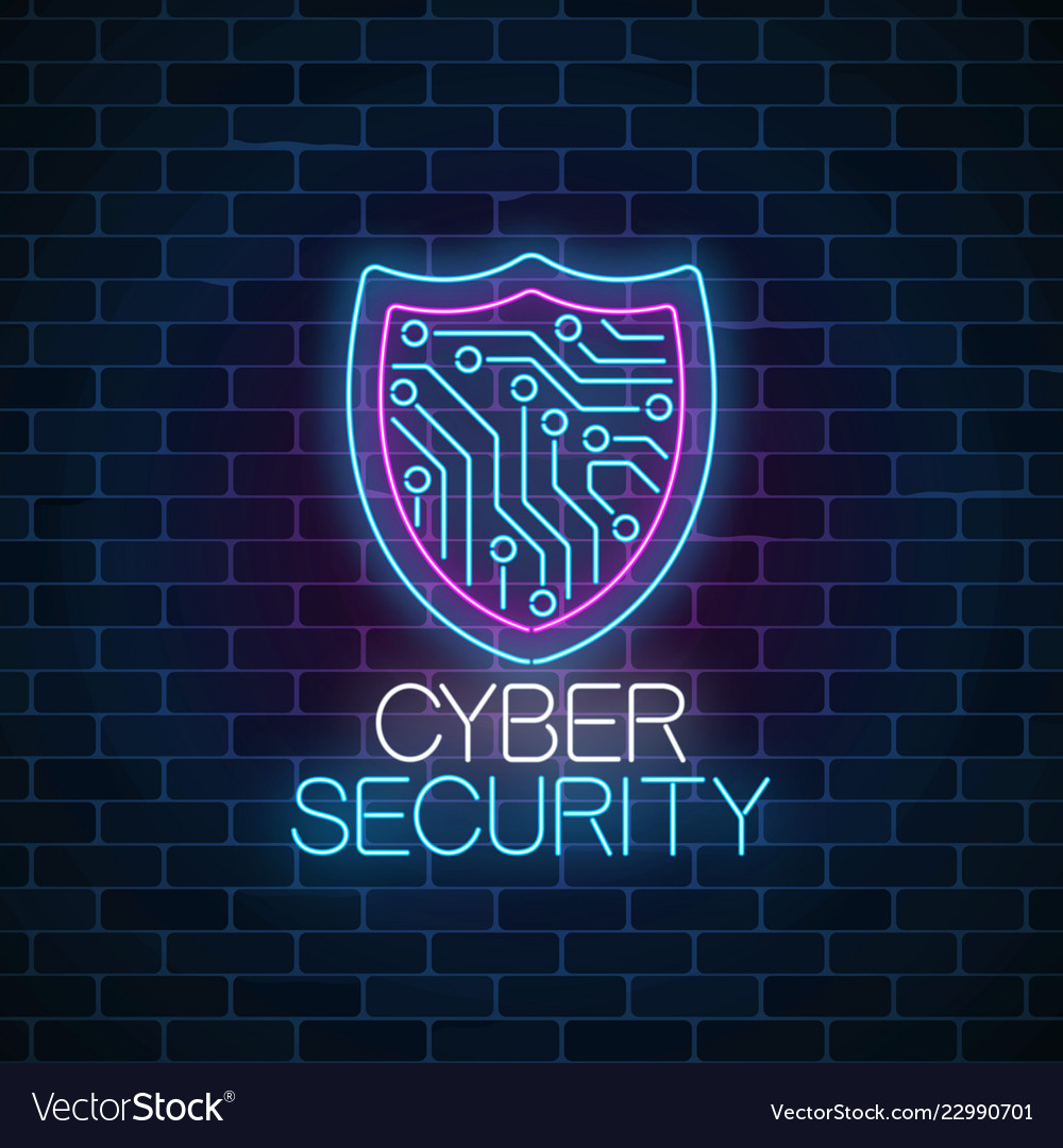 Cyber security glowing neon sign on dark brick