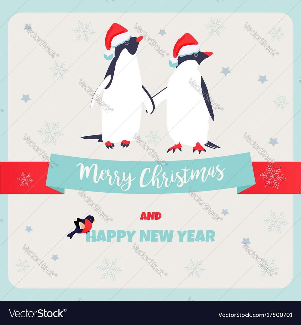 Holiday Greeting Postcard With Penguins Royalty Free Vector