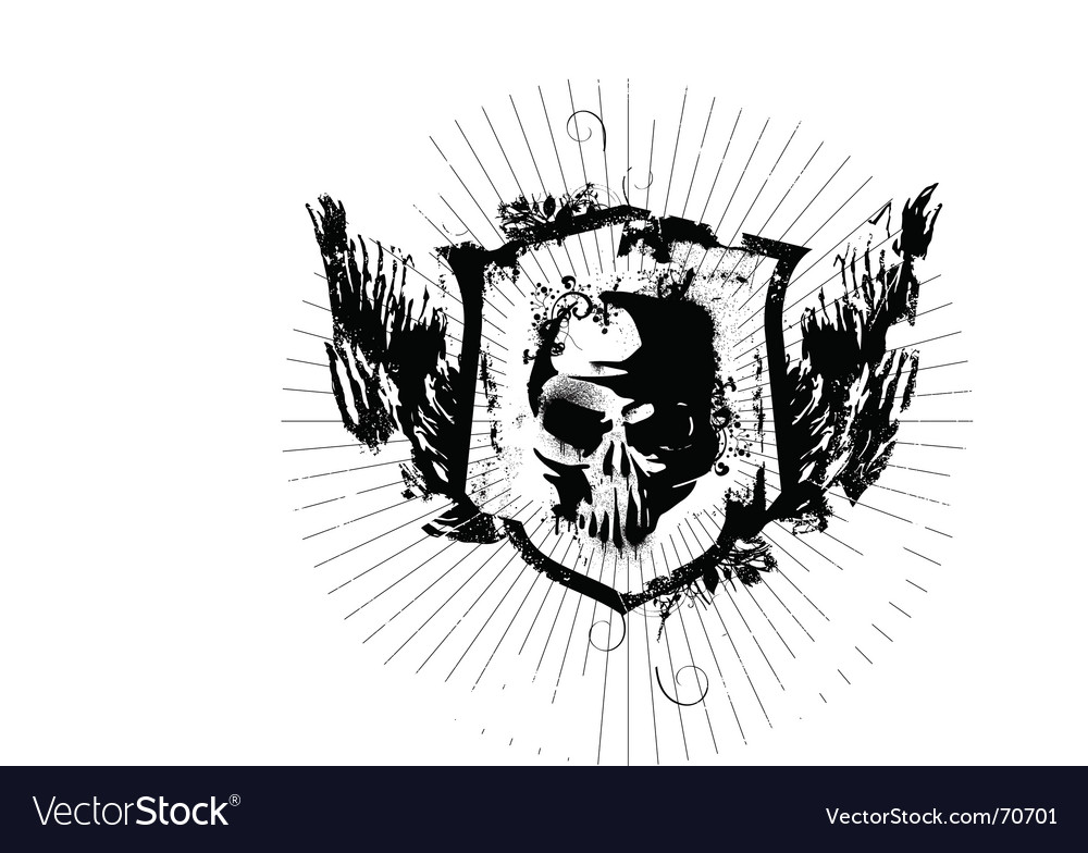 Ink skull vector image