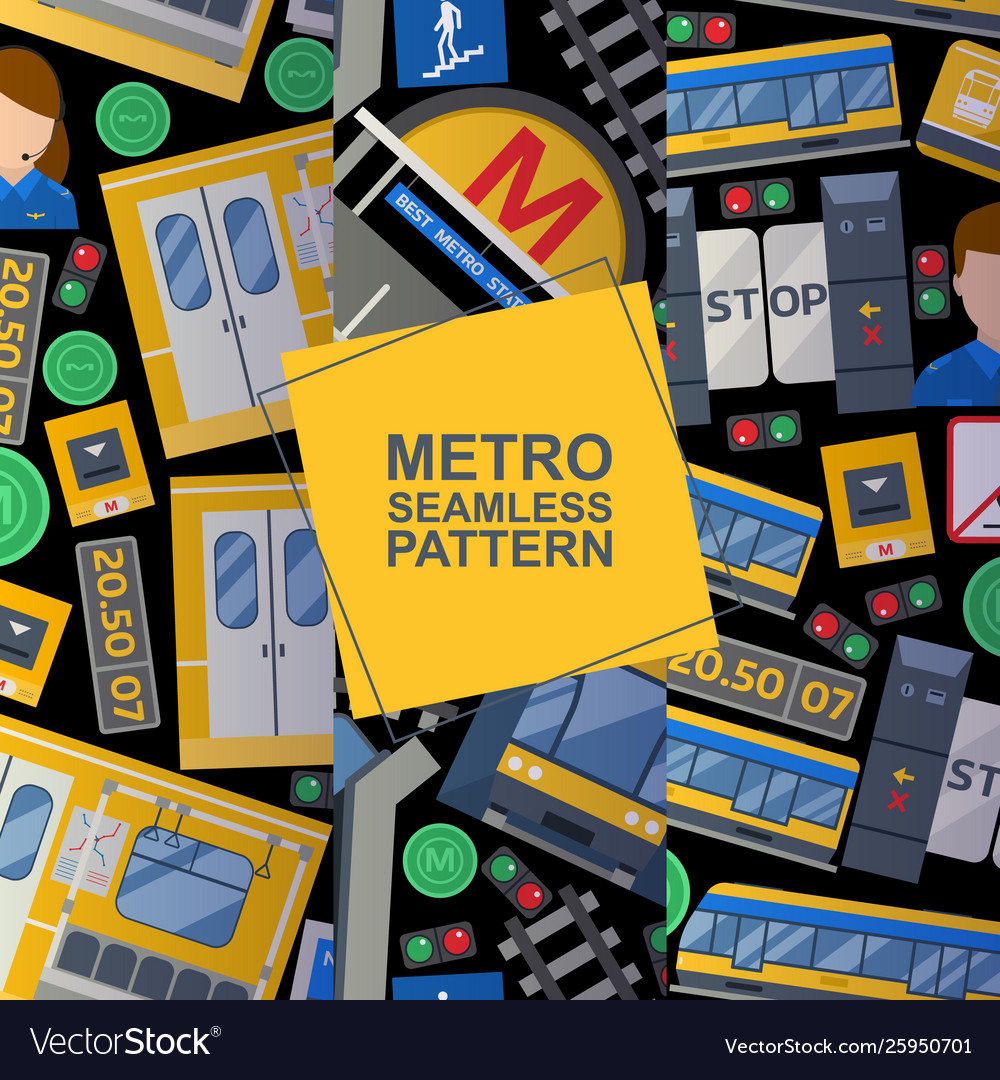 Metro station elements set seamless patterns