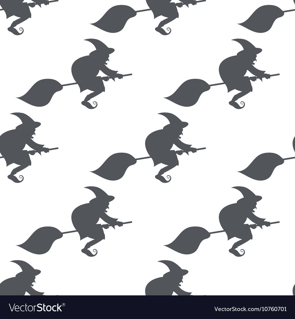 Monochrome pattern witch on a broomstick
