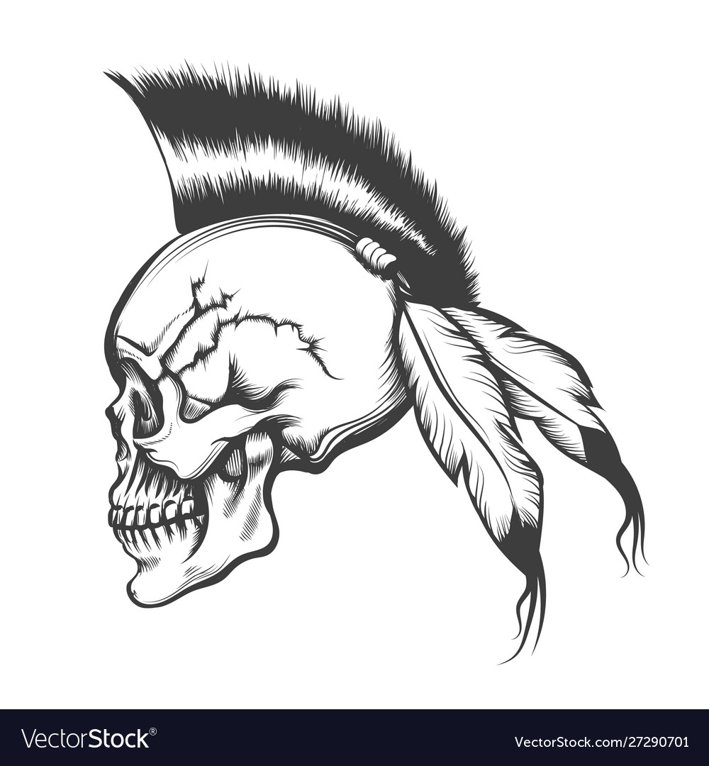 Skull with iroquois hairstyle engraving