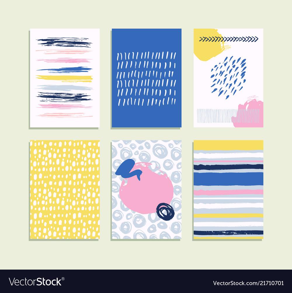 Trendy set of brush strokes card hand drawn