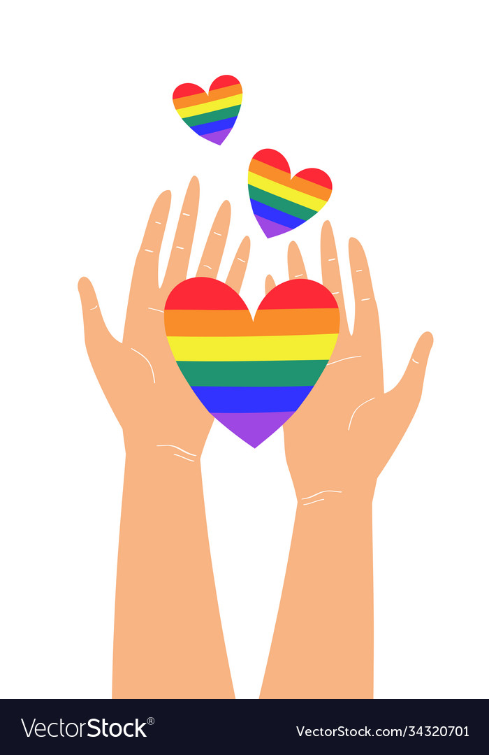 Two hands holding lgbtq rainbow heart colors