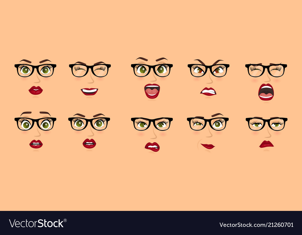 Woman with glasses facial expressions gestures