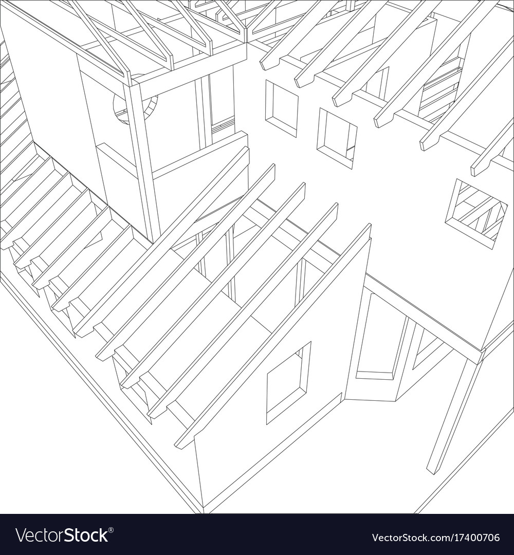 Abstract Architectural 3d Drawing Of Apartment