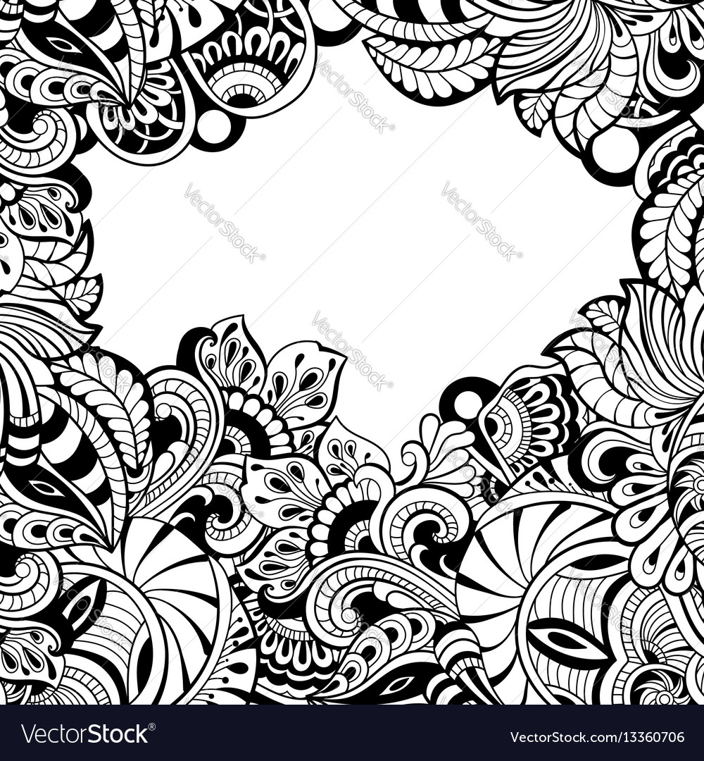Card template with floral pattern