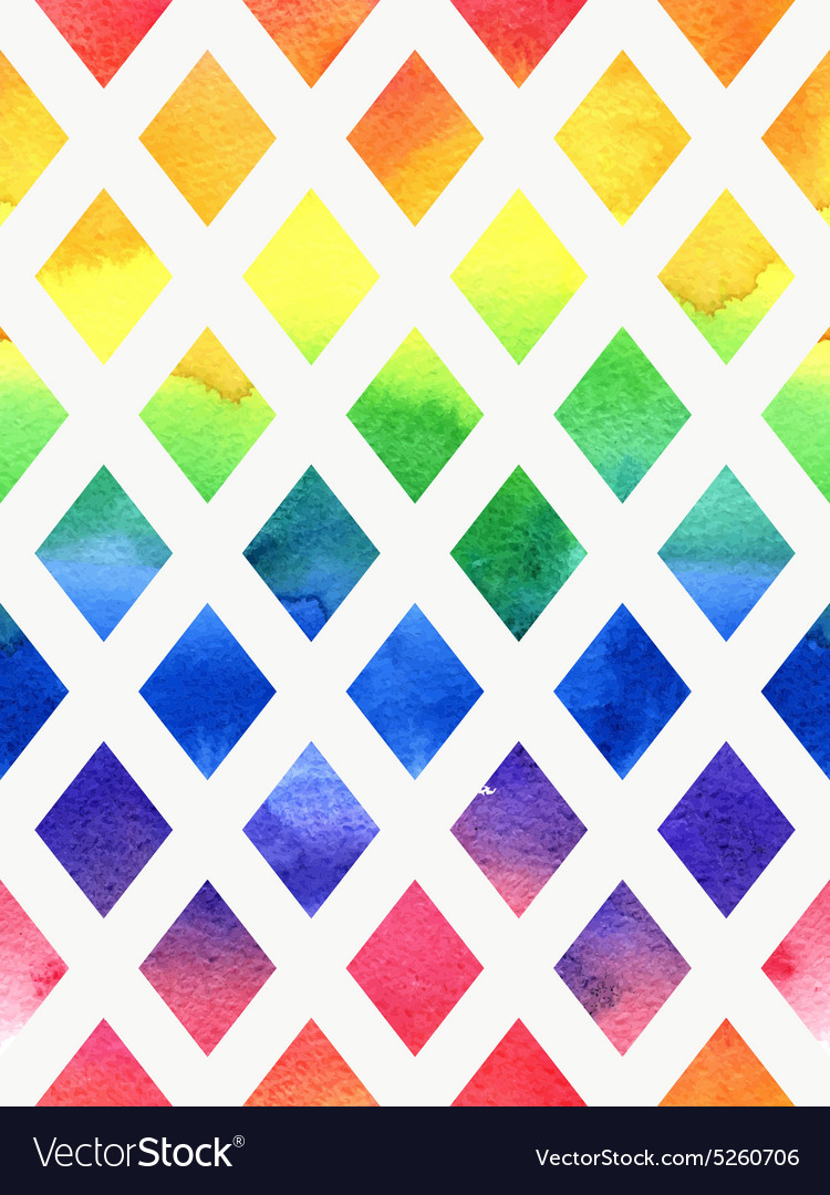 Colorful watercolor seamless geometric pattern