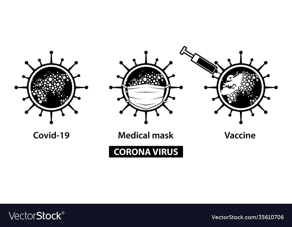 Coronavirus virus icons set
