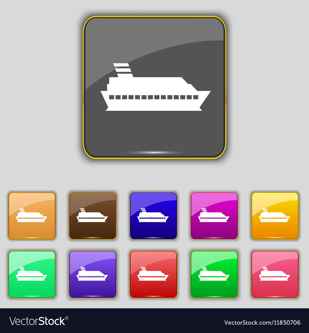 Cruise sea ship icon sign Set with eleven colored