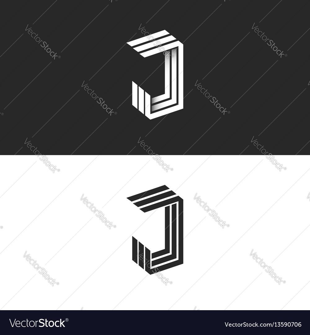 Logo j letter in isometric initial monogram black vector image