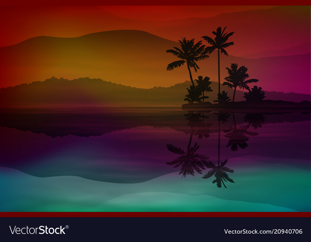 Purple background with sea and palm trees