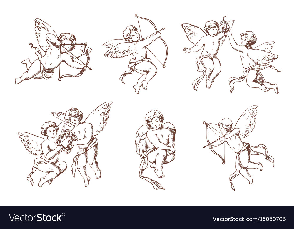 Set of different vintage cupid various flying