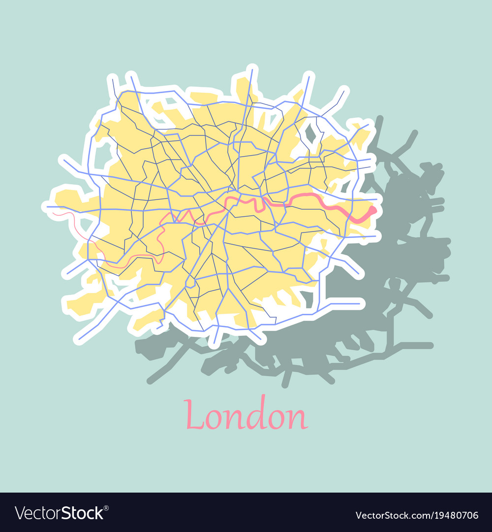 Sticker color map of london united kingdom city Vector Image