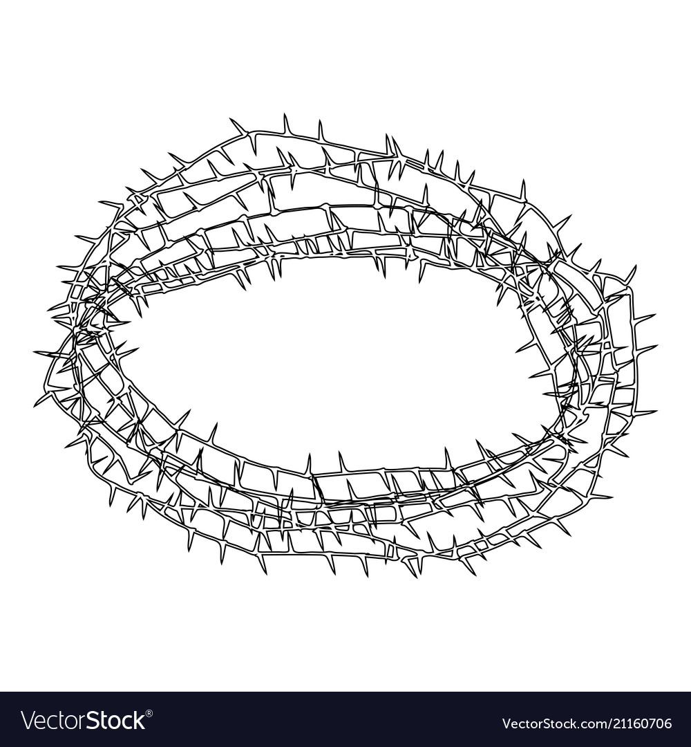Thorn wreath or barbed wire icon black color flat