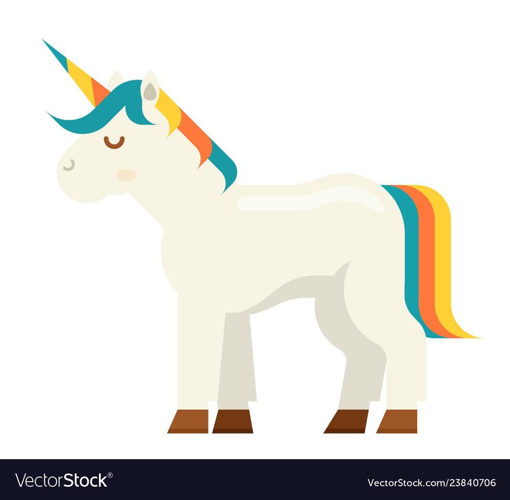 Unicorn beautiful fairytale magic horse horn flat