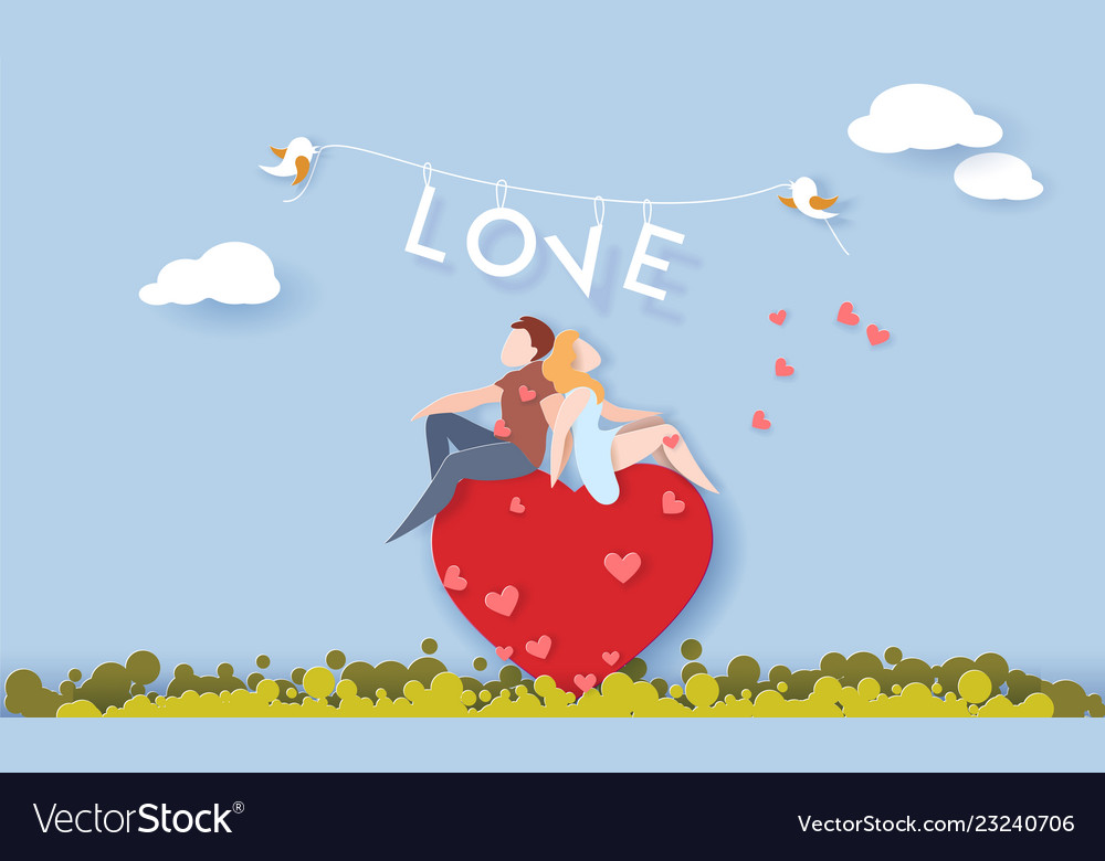 Valentines day card with couple in love heart