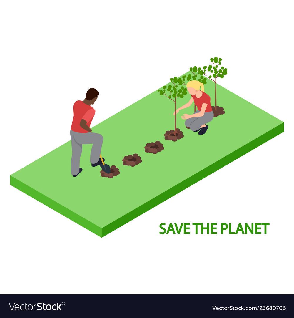 Volunteers plant trees 3d isometric