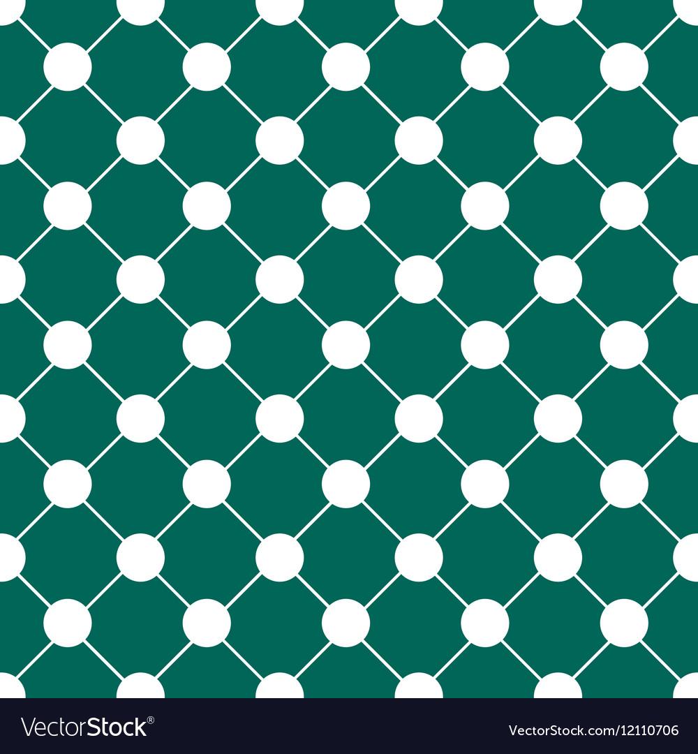 White Polka dot Chess Board Grid Teal Green vector image