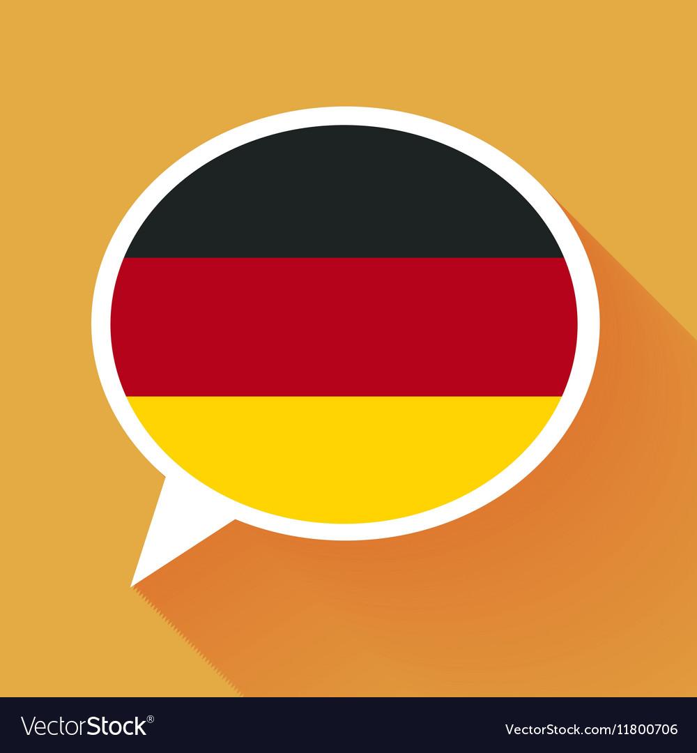 White speech bubble with Germany flag on orange