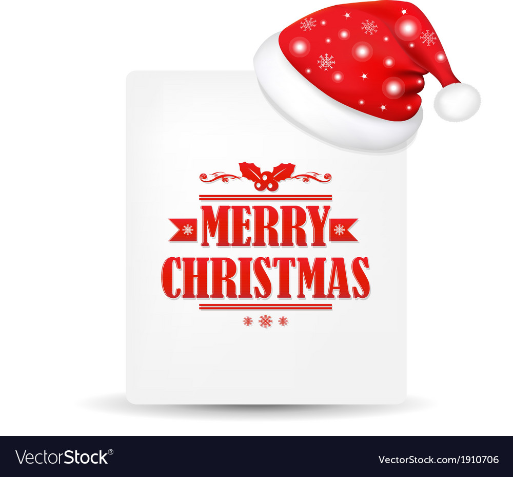 Xmas Blank Gift Tag With Santa Claus Cap