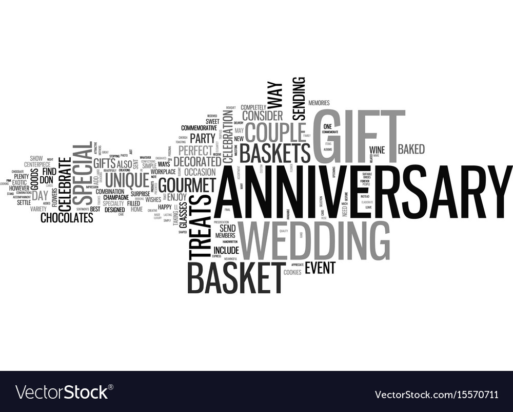 anniversary gift basket text word cloud concept vector image
