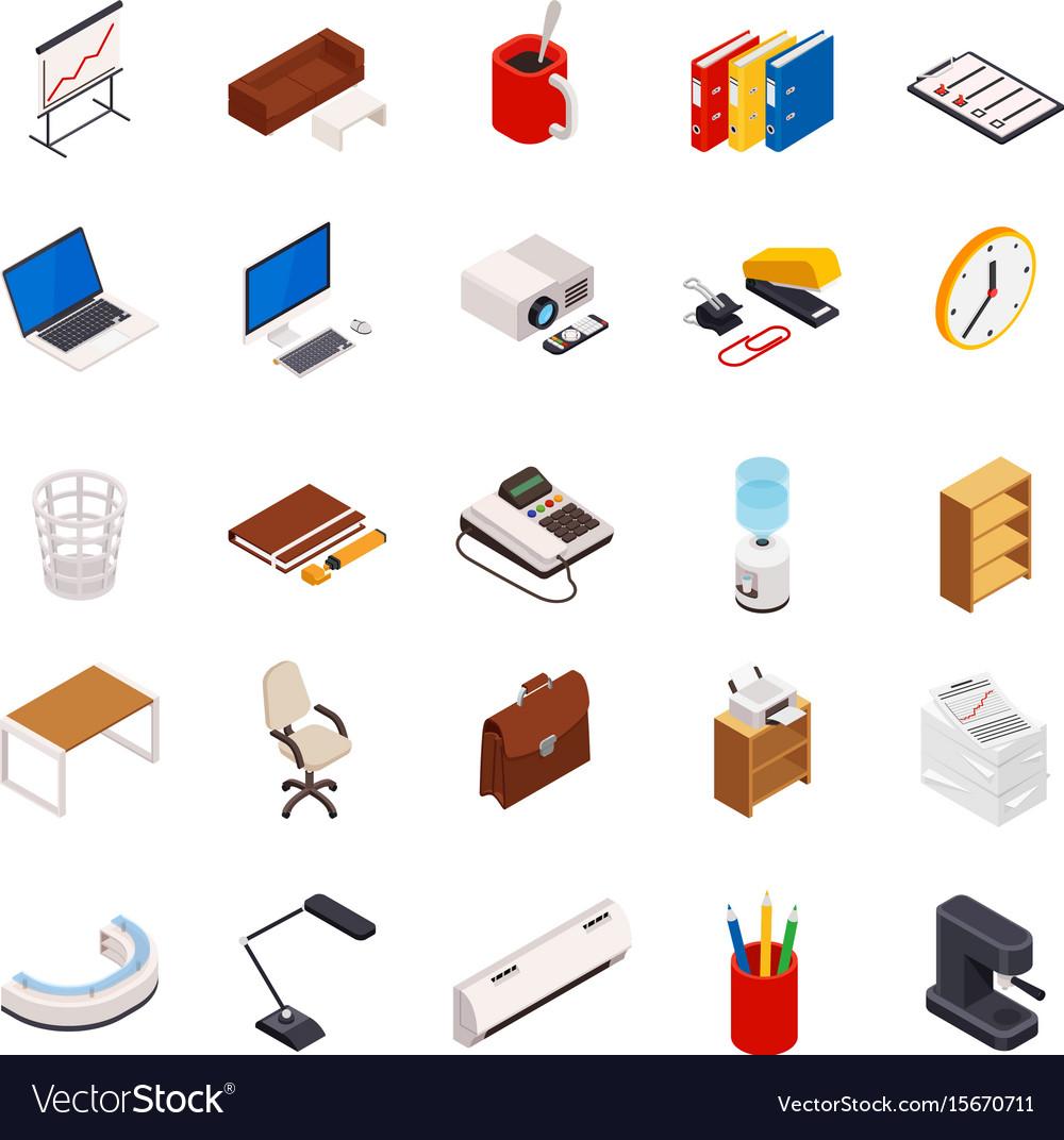 Big set of 3d isometric volumetric of icons on a