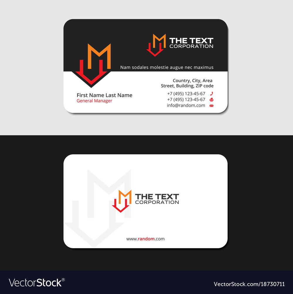 Black business card with letter m and market icon Vector Image