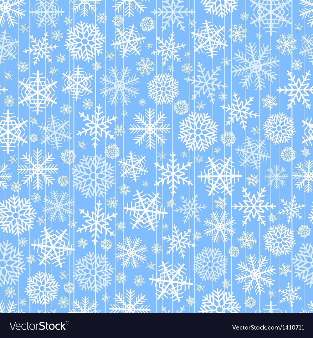 Blue seamless christmas background of flakes vector image