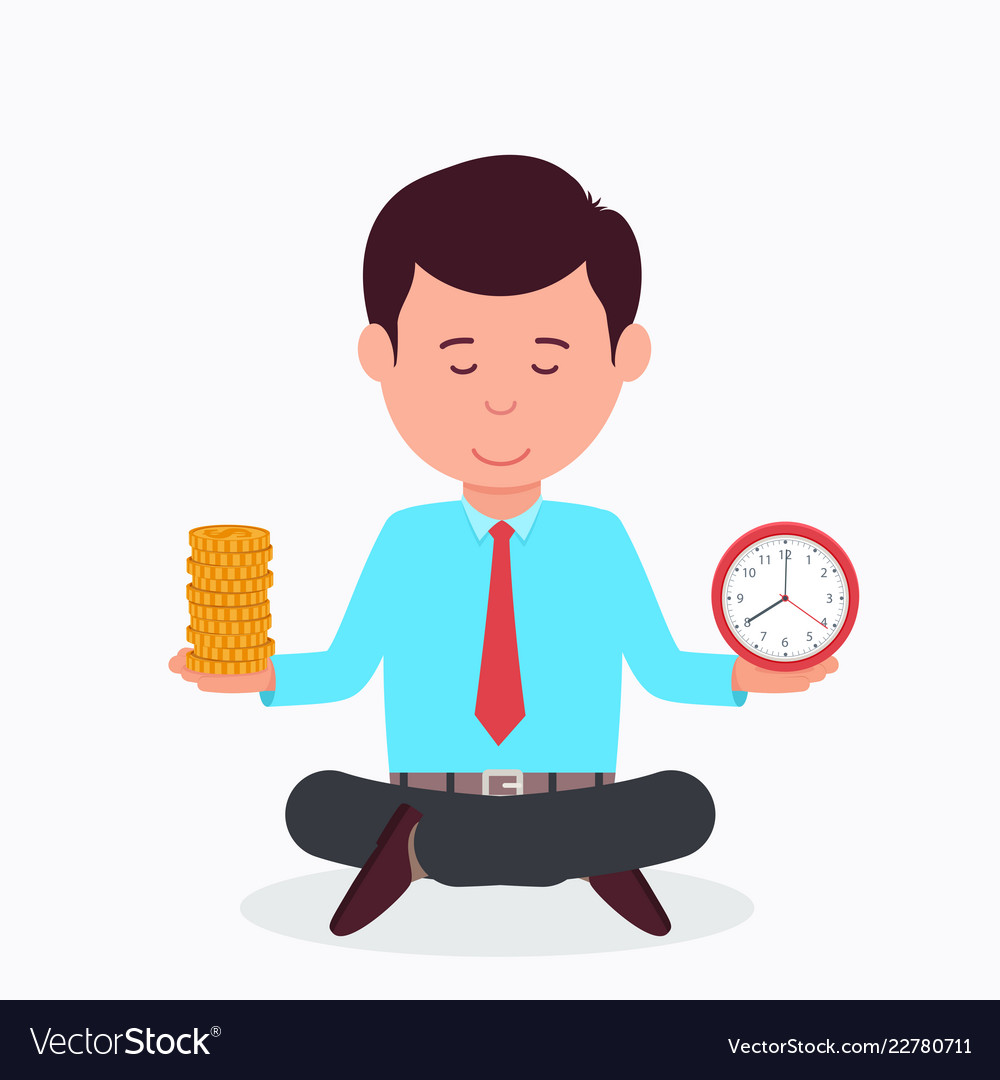 Business man sitting in lotus position
