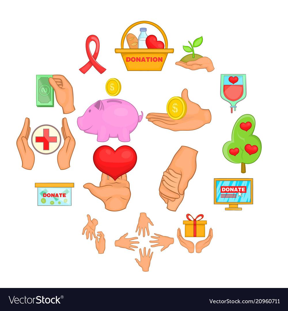 Charity organization icons set cartoon style