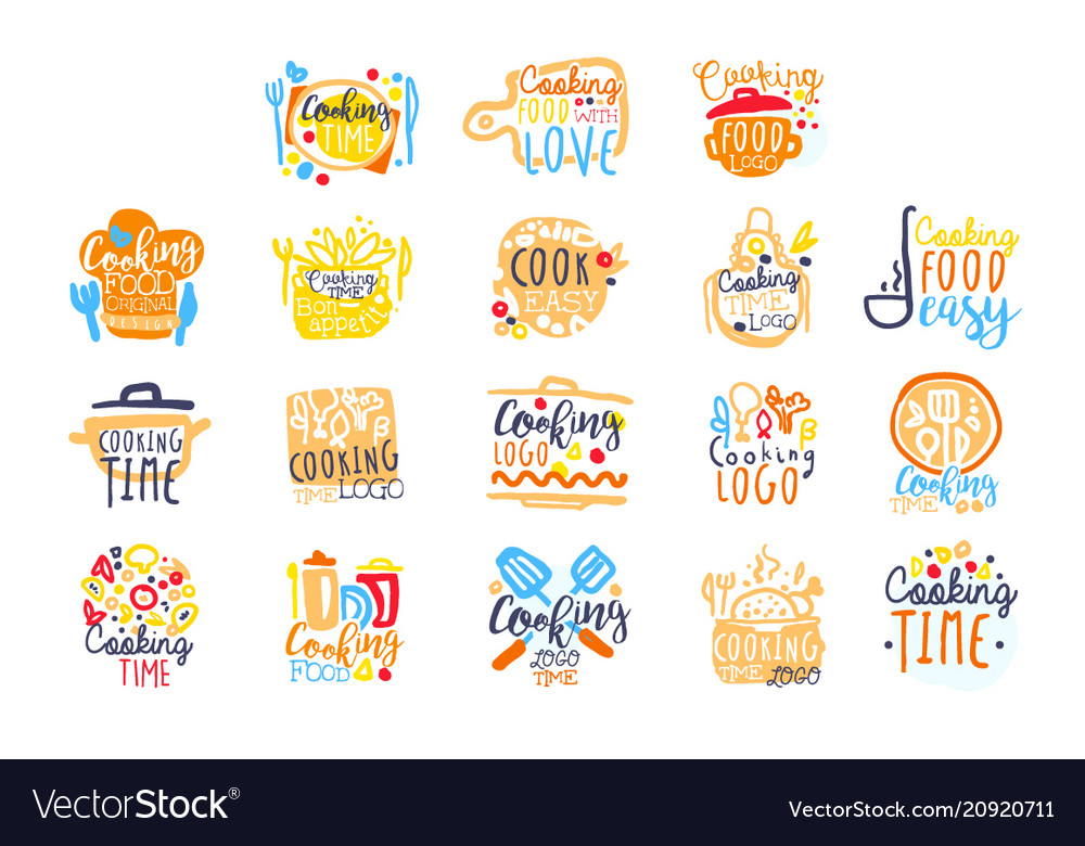 Cooking time logo design set of colorful hand