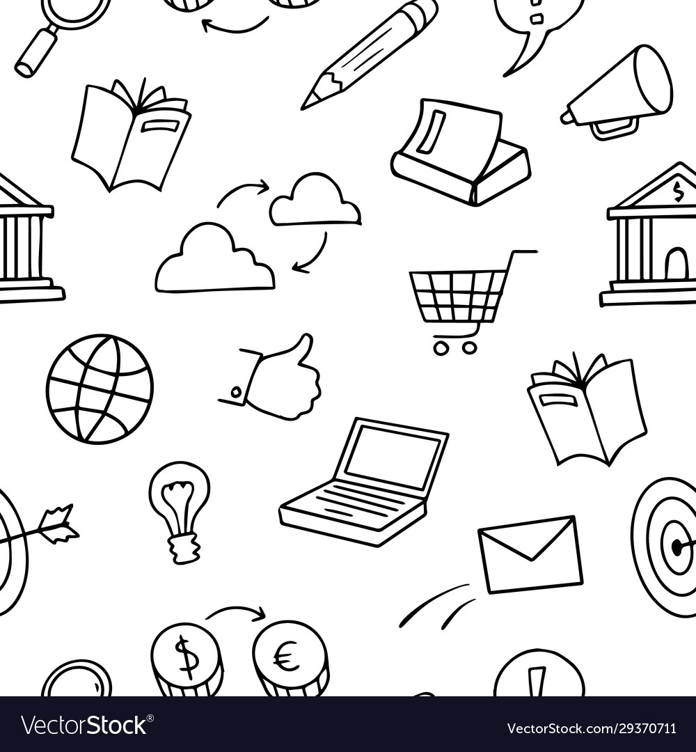 Doodle sketch seamless pattern - concept