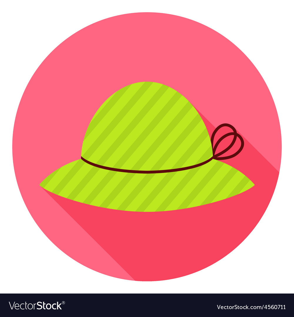 Flat Fashion Hat Circle Icon with Long Shadow