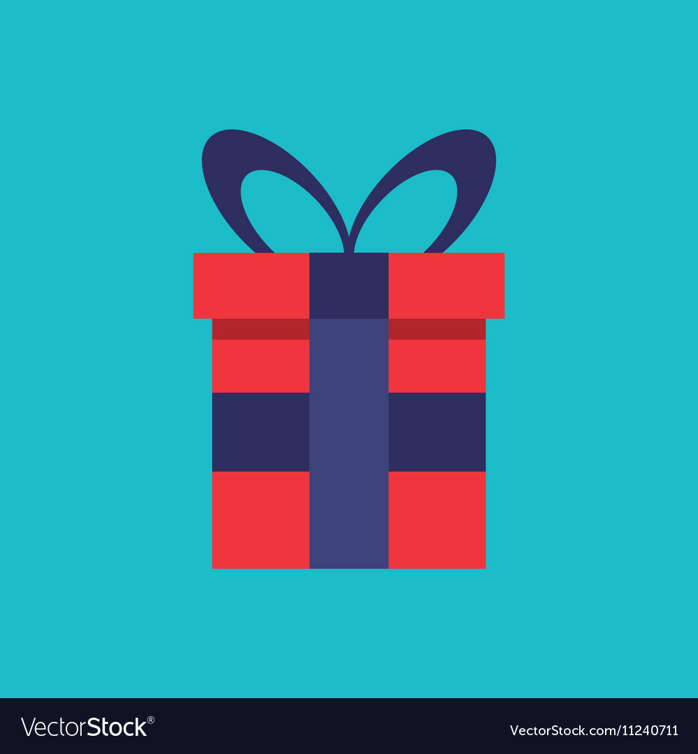 Gift box present flat icon