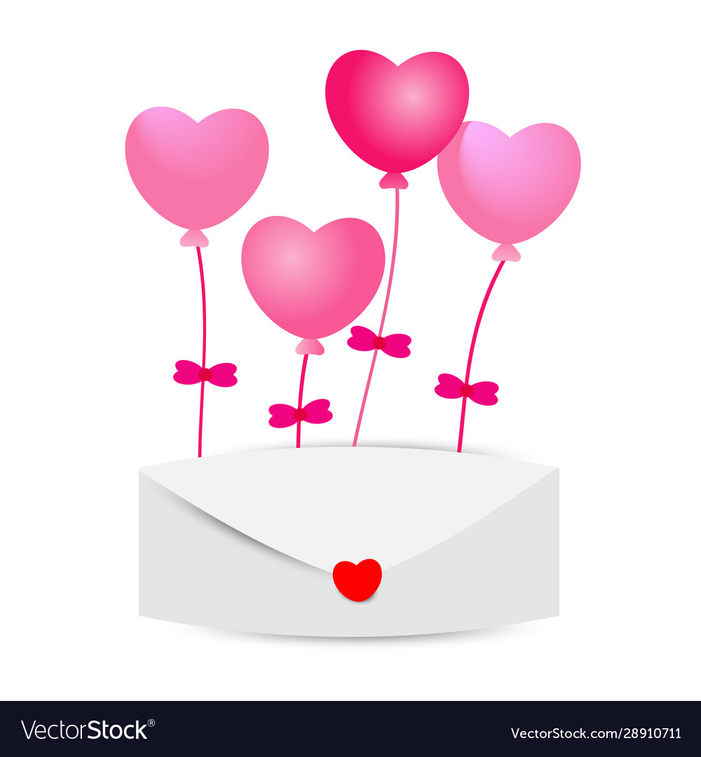 Heart balloons with envelopes on white background