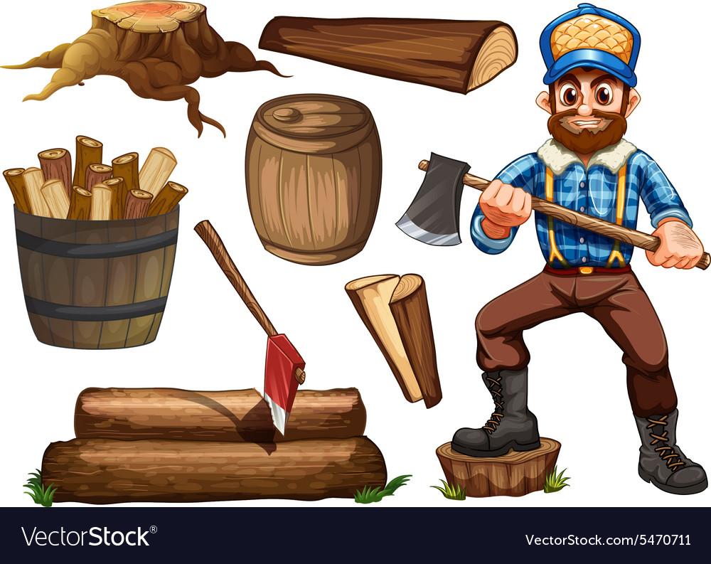 Lumberjack and firewood