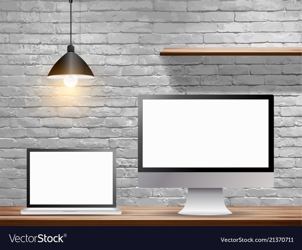 Mock up laptop computer with desktop monitor