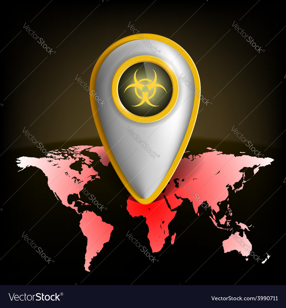 Pointer With The Biohazard Symbol On A Map Of The Vector Image