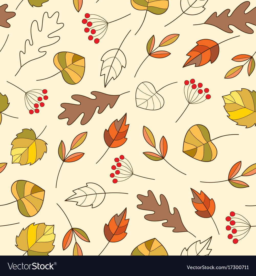 Seamless pattern with autumn colorful leaves in