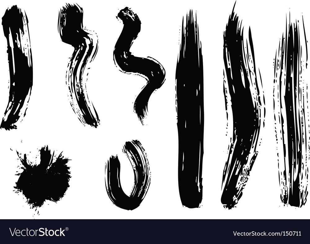 Set of black brushes vector image