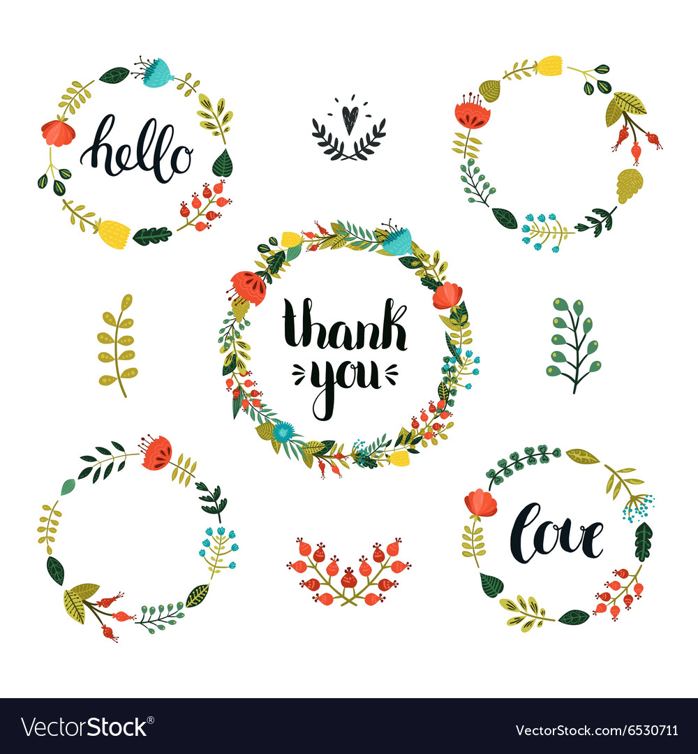 Set of Floral wreath with cute colorful flowers vector image
