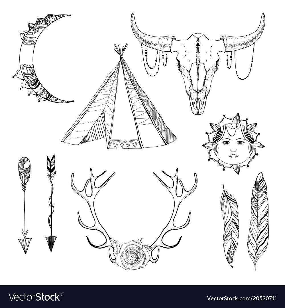 Sketch boho elements set